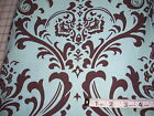 Large print Blue and Chocolate Damask fabric - 7/8 yard