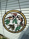 Stained Glass Birds On Branch Suncatcher On Chain. Large.