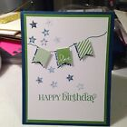 HAPPY BIRTHDAY BANNER HANDMADE CARD KIT OF 4 featuring Stampin Up