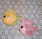 Vintage Pink Yellow Art Pottery Fish Wall Pocket Planters Chimes 7.5