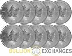 Lot of 10 - 2014 1 oz Silver Canadian Maple Leafs