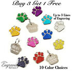 GLITTER PAW PRINT PET ID TAG CUSTOM ENGRAVED DOG CAT PERSONALIZED ANIMAL SHELTER
