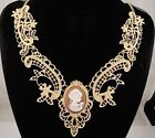necklace 18k gold p metal lace brown cameo antique vintage victorian style FIOJ