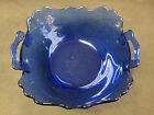 Vintage L.E. Smith Mt. Pleasant Pattern Cobalt Blue Handled Bowl