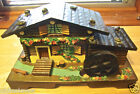 Vintage German Cottage Chalet Water Wheel Style Music Trinket Jewelry Box Japan