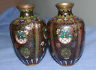 VERY FINE SIGNED PAIR OF JAPANESE ANTIQUE MEIJI PERIOD MINIATURE CLOISONNE VASES