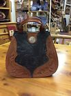 American West Black & Brown Tooled Leather Purse