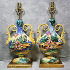1940s DERUTA PAIR OF ITALIAN MAJOLICA POTTERY ARTIST SIGNED HAND PAINTED LAMPS