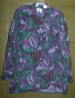 Vintage 80s silk shirt size S purple green floral print silk blouse