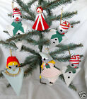 Set of 6 Vintage Felt Triangle Christmas Ornaments Jolly Boy Girls Singing Choir