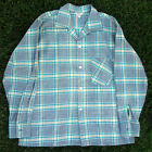 NOS Vintage 50's Mens Flannel Plaid Loop Collar Rockabilly Shirt M