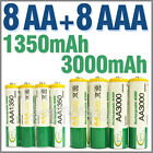 8 AA+8 AAA 1350mAh 3000mAh 1.2V NI-MH Rechargeable Battery 2A 3A BTY Green