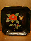 Vintage Otagiri China Small Square Plate Tray Black HandPainted Floral Butterfly