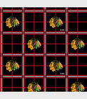 NHL CHICAGO BLACKHAWKS PLAID 100% COTTON FLANNEL FABRIC BY THE 1/2 YARD