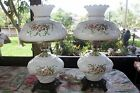 SET OF VINTAGE ACCURATE CASTINGS GWTW LAMP WHITE WITH HAND DRAWN FLORAL WORKING