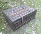 ANTIQUE wood strap leather steamer TRUNK quilt CHEST blanket BOX table STAND