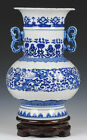 Art Blue and white porcelain vase & double ears painted nice picture from China