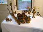 VTG INDIA  Enameled Brass 17 pc SET Ewer Claw Bell Tumbler Vase Cordials Cup