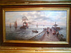 ANTIQUE OIL PAINTING 'FISHING VILLAGE MAGNIFICENT QUALITY,SIGNED,ORIGINAL FRAME.