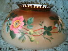 Glass Hand Painted Flowers Brass Crown GWTW Hurricane Lamp Shade 14