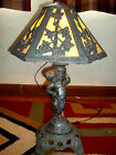 Vintage Slag Glass Table Lamp Caramel heavy metal Cherub 1970 EF