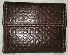 VGUC Coach Mahogany Embossed Signature Leather French Purse Wallet 6860