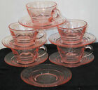 Pink Depression Glass With Swirl Design 5 cups 6 Saucers 11 Total Pieces