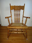 Antique Traditional Oak Press Back Rocking North Winds Face Chair