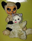 Vintage Rubber Face Stuffed Teddy Bear Panda & Chipmunk Toy Dolls