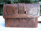 Vintage Tooled Leather Purse Handbag with Matching Cigarette/Cell Phone Case