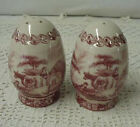 Pretty Red Toile Transferware Salt and Pepper Shakers with Cows