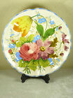 Vintage Italian Pottery Pink Rose Tulip Floral Platter Large Wall Plate 13.5