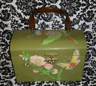Vintage Decoupage Lucite Handle Green Wood Box Purse w/Flowers & Butterflies