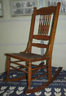 Antique Wooden Spindle Back & Pressed Fiber Board Rocker Rocking Chair NO SHIP