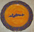 Vintage FISHERS ISLAND handmade MAP SILHOUETTE painted PLATE - MJR? Droll Style