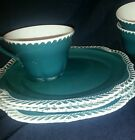 Snack set Harker teal green white Corinthian 4 cups 3 plates