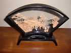 Vintage Intricate China Cork Carving Behind Glass Black Lacquered Wood Frame 9