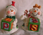 Fitz Floyd Christmas Tree Series Salt Pepper Shakers Hand Painted 2007 Snowmen