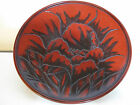 Beautiful Japanese Meiji Period Peony Flower Motif Lacquer Plate with Seal
