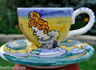 Vietri Dell ArteTea Cup Coffee Saucer Old World Costume Italy Girl Blue NEW
