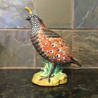 Rare Mottahedeh Hand Painted Porcelain Quail Figurine Statue from Italy. S8404