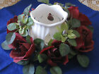 SHABBY COTTAGE CHIC TULIP SHAPE w/ LITE SLITS CANDLE HOLDER WHITE CERAMIC ~ VGVC