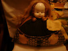PORCELAIN DOLL HEAD LONG HAIR STUFFED AS A PILLOW OR PIN CUSHION MADE IN ITALY