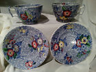 Copeland Spode China England1850-99 MultiFloral on Blue,Set of 2 Cups