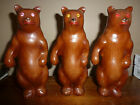 3 Cellulid bears with JEWEL EYES  Made in hong kong ANTIQUE bakelite style VTG