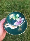 Cup And Saucer Green with Pink Flower with tri footed cup