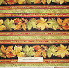 Harvest Breeze Autumn Leaf Stripe Fabric Red Rooster Gold Accent Cotton Yard