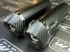 Suzuki GSX 1400 01-04 Pair- Black Oval, Carbon Outlet Exhausts Cans Silencers