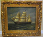 Large Orig Oil on Canvas Painting Clipper Ship Sailing on Open Ocean by H Parker
