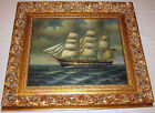 Large Orig Oil on Canvas Painting Clipper Ship Sailing Open Ocean by H Parker